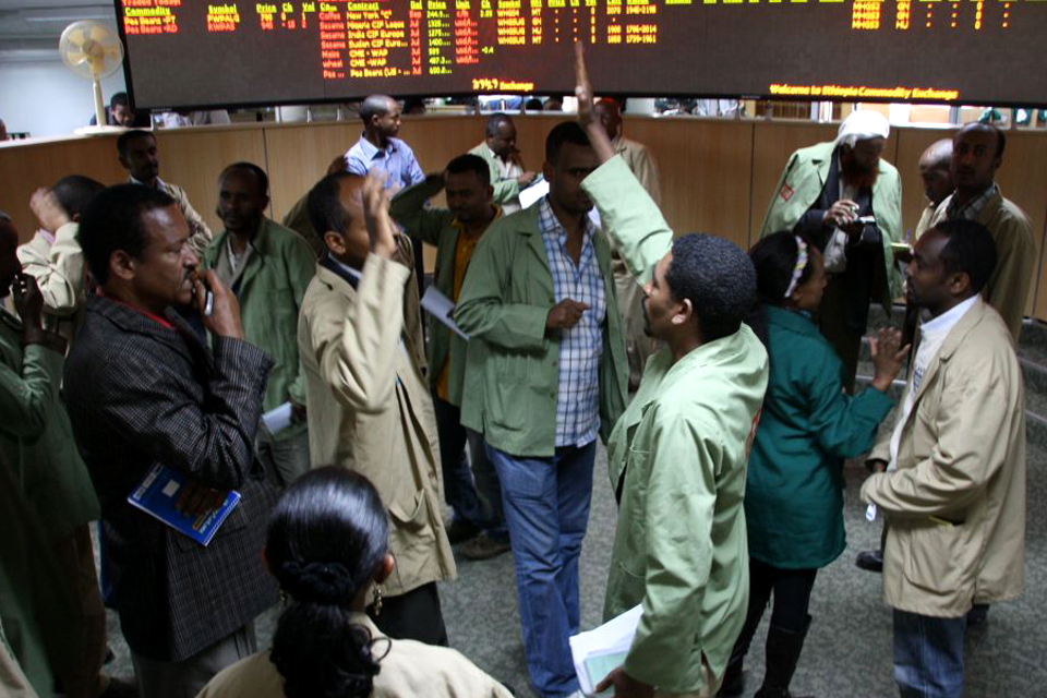 High five seals the deal: Ethiopia Commodity Exchange trading floor. Picture: Pete Lewis/DFID