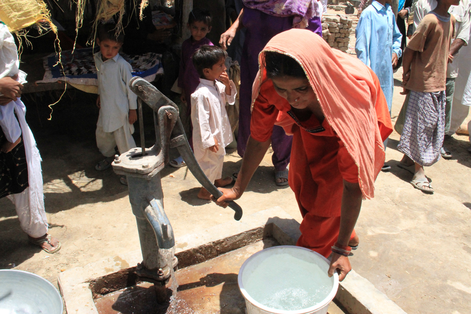 Sabiha now has access to clean drinking water thanks to a nearby hand pump provided by UK aid. Picture: Vicki Francis/DFID