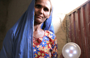 Seeing things in a new light: Marvi demonstrates her UK aid funded technology. Picture: Vicki Francis/DFID