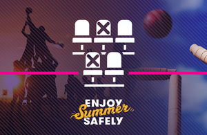 A graphic featuring basketball players and the words Enjoy Summer Safely