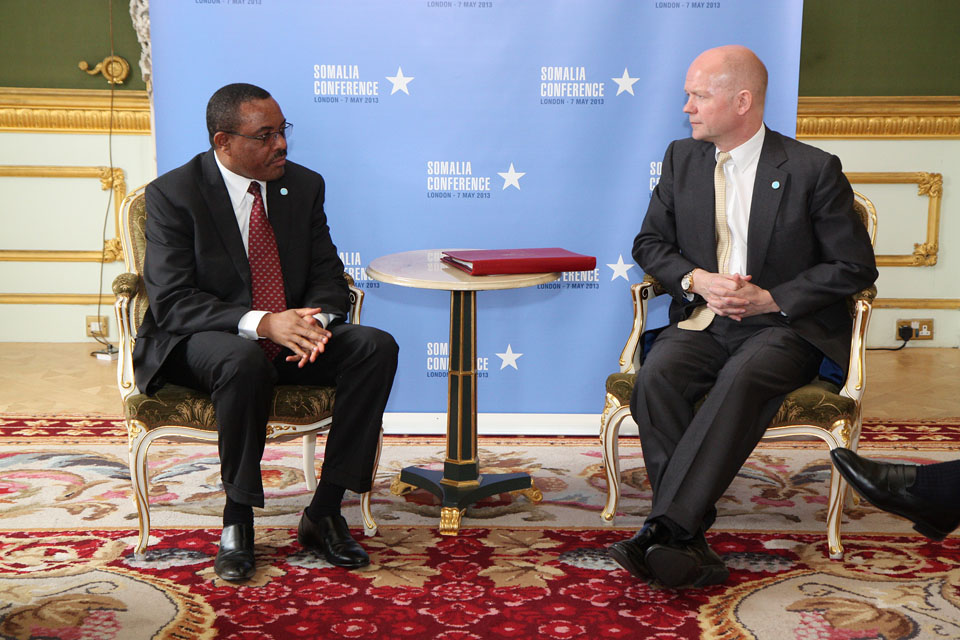 The Foreign Secretary William Hague and Ethiopian Prime Minister Hailemariam