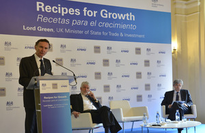 Lord Green talks to the audience in Madrid