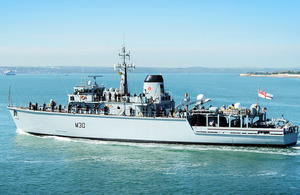 HMS Ledbury leaves Portsmouth [Picture: Leading Airman (Photographer) Vicki Benwell, Crown copyright]