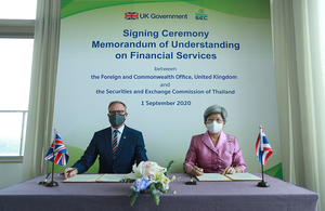The UK and the Thai Securities and Exchange Commission sign Memorandum of Understanding to promote inclusive economic growth in the Financial Services sector