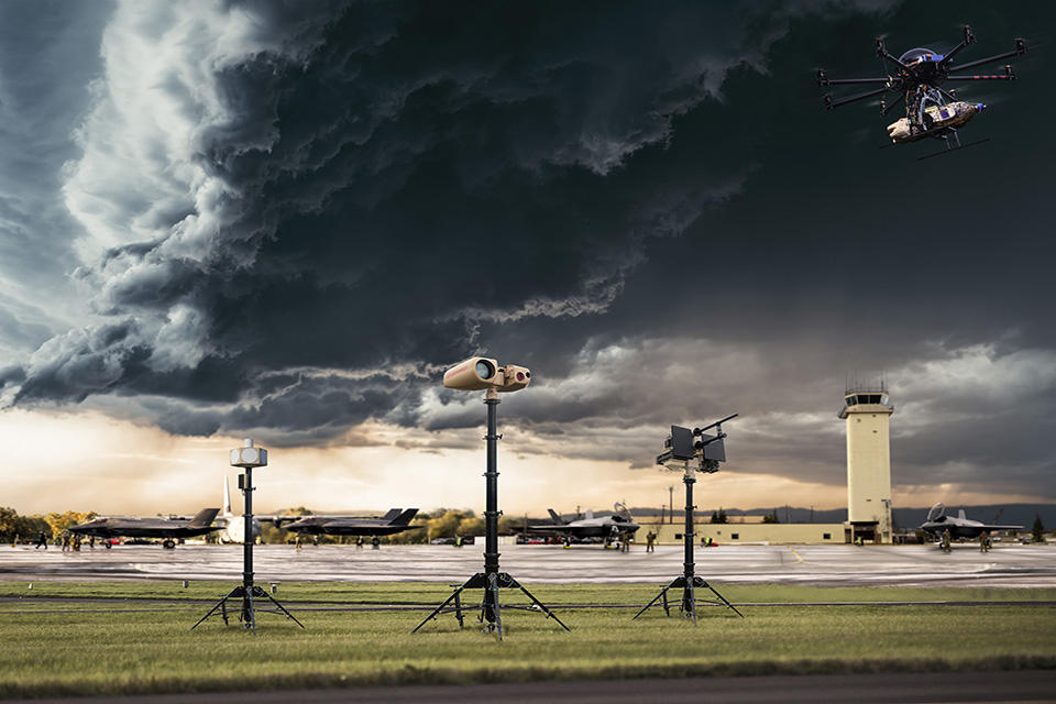 a ORCUS counter-drone equipment in front of a lightning sky.