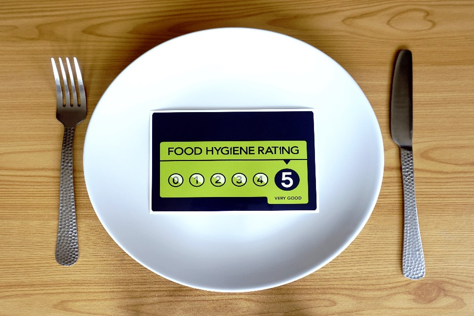 Photo of the Food Standards Rating Agency logo on a plate