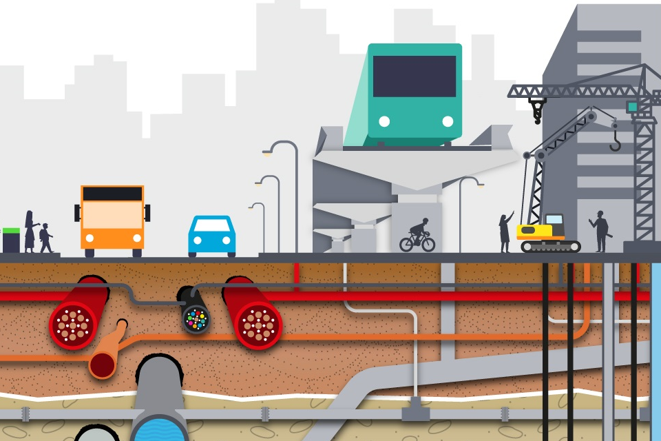 Diagram of transport vehicles and underground pipes