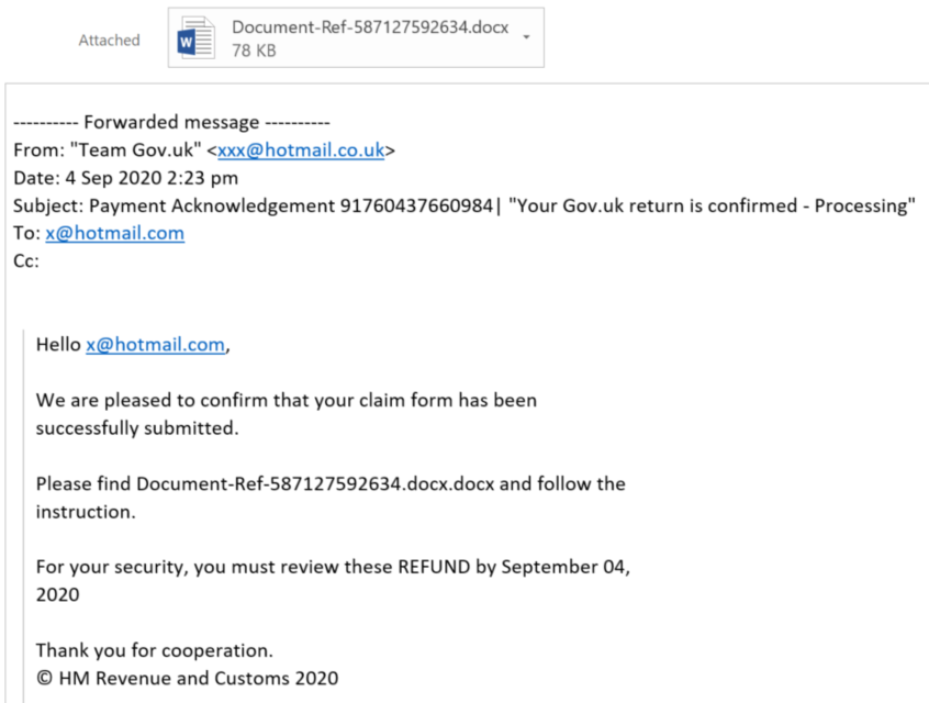 Examples Of Hmrc Related Phishing Emails And Bogus Contact Gov Uk