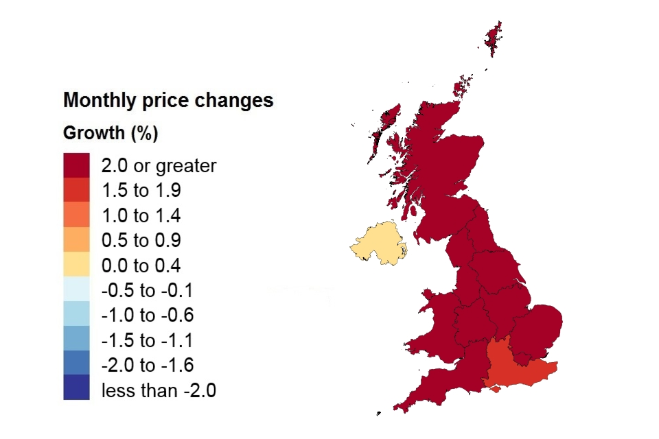 A heat map showing monthly price changes by country and government office region.