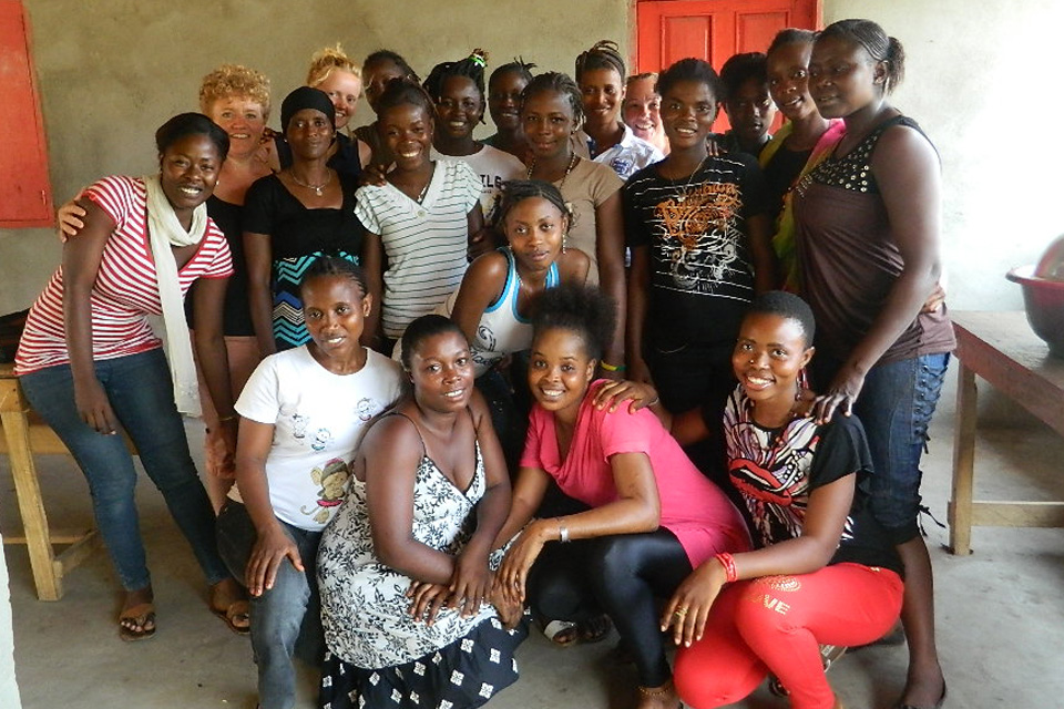Miriam Mason-Sesay with all the EducAid female staff launching the EducAid Now newsletter for all the girls and women