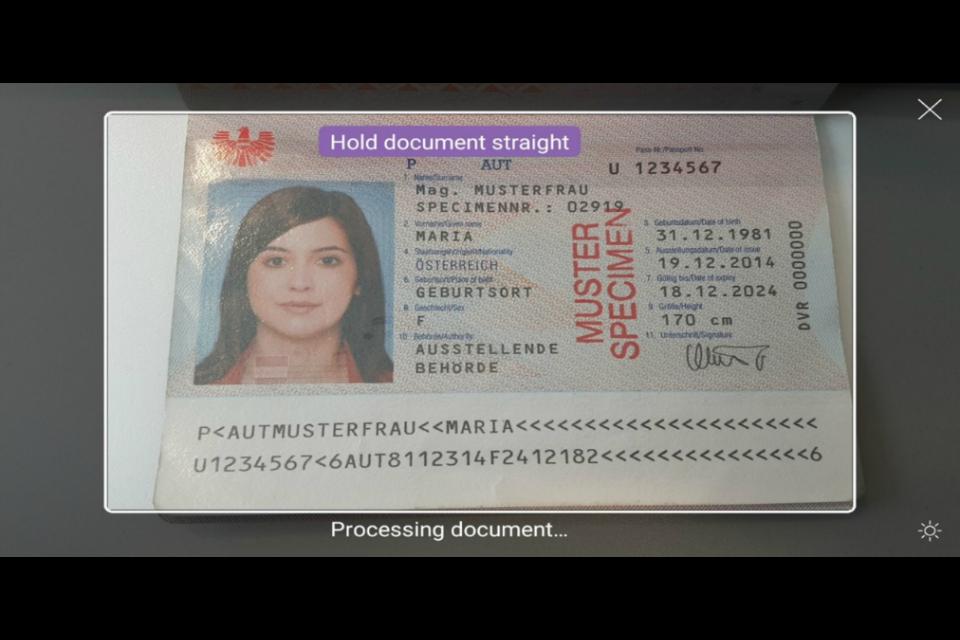 Экран «Отсканируйте документ» - убедитесь, что вы включили всю информацию в свою фотографию
