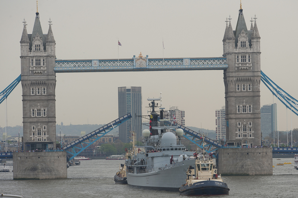 HMS Edinburgh passes under Tower Bridge