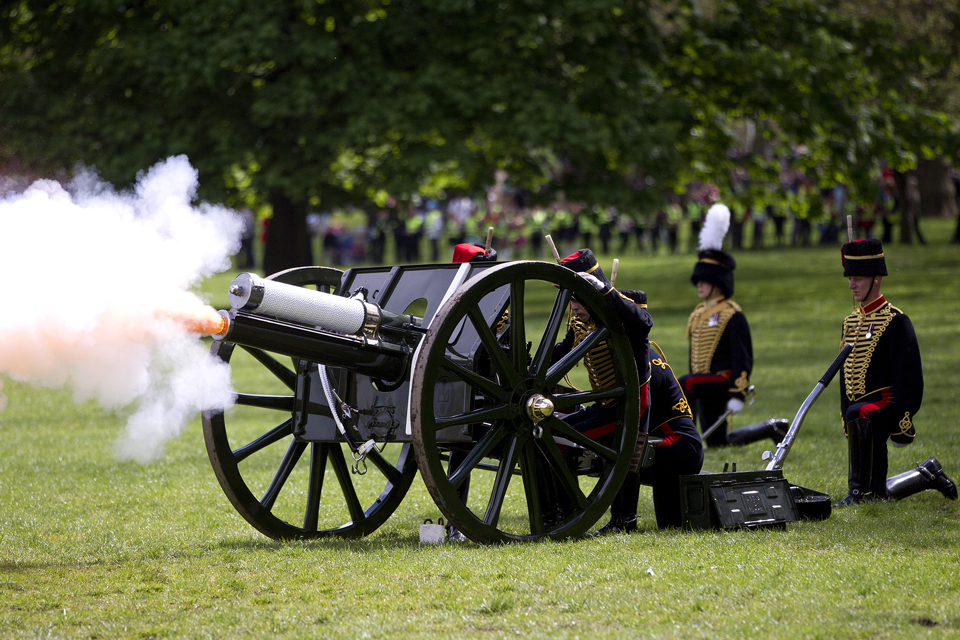 Members of the King's Troop Royal Horse Artillery firing a gun
