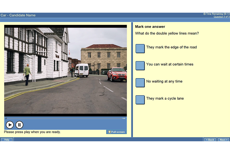 "Screenshot of theory test question showing a van parked on double yellow lines with the question ""What do double yellow lines mean?"" and 4 multiple-choice answers"