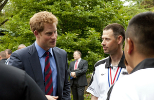 Prince Harry at a May 2012 reception at the British ambassador's residence in Washington in honour of British and American wounded warriors.