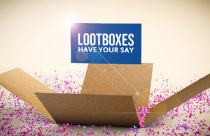 Image of an open box similar to lootboxes found in video games with copy reading: Lootboxes, have your say