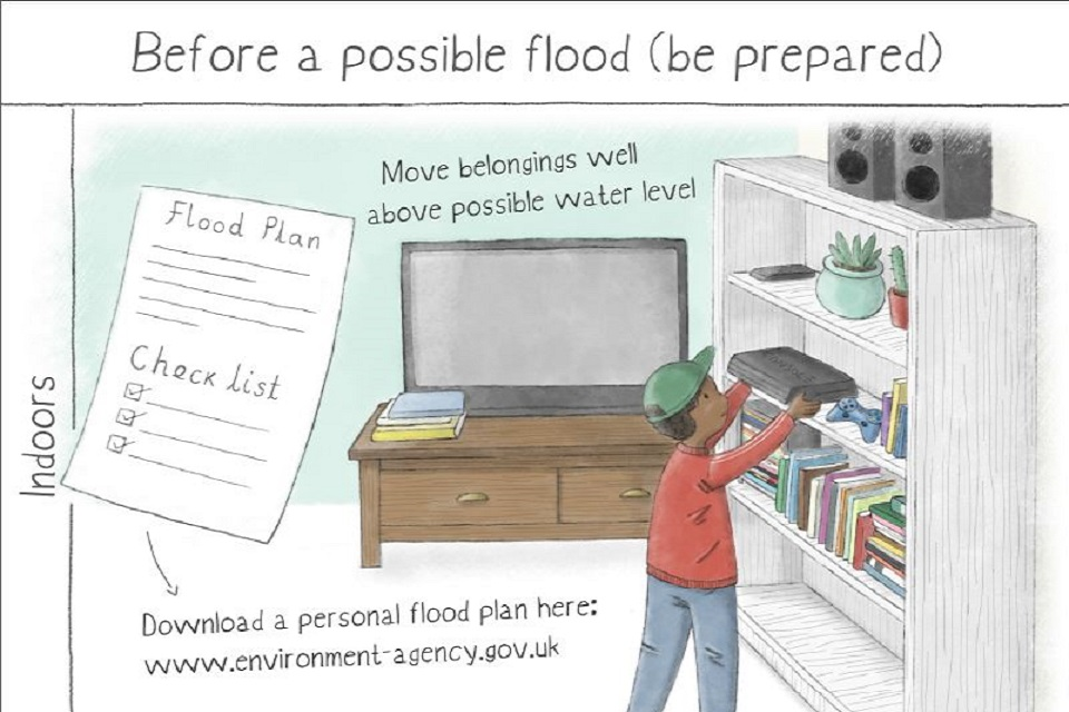 Images shows the before a flood page of the leaflet