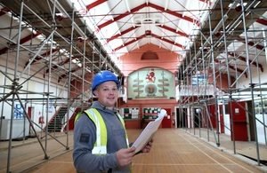 Site Manager inside Keighley drill hall.