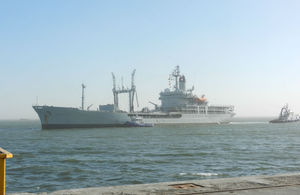 British Royal Navy frigate calls on the port of Walvis Bay, Namibia