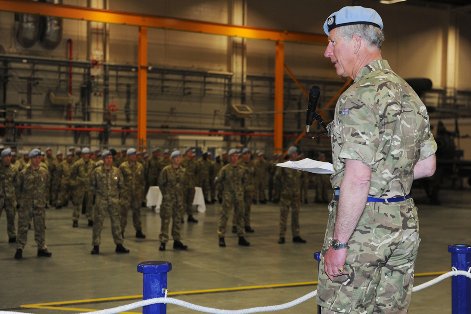 Prince Charles addresses soldiers