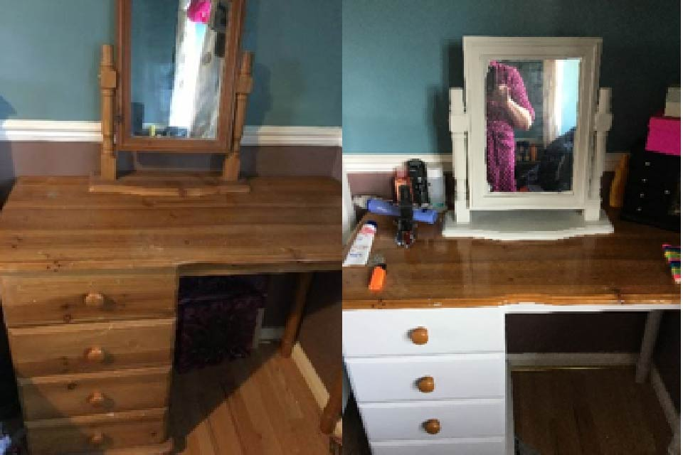 Before and after photographs of a dresser that has been 'upcycled' through the #LockDownChallenge