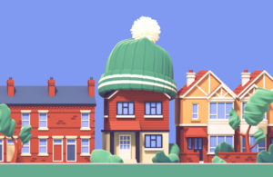 Green Homes Grant campaign image - illustration of houses with a wooly hat -
