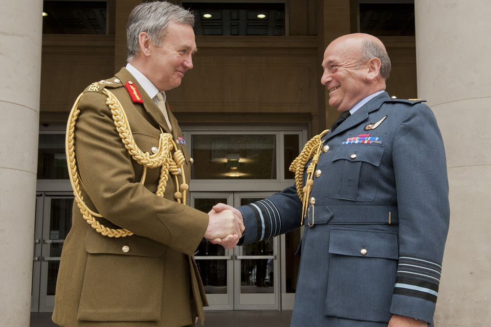 General Sir Nicholas Houghton hands over to Air Chief Marshal Sir Stuart Peach