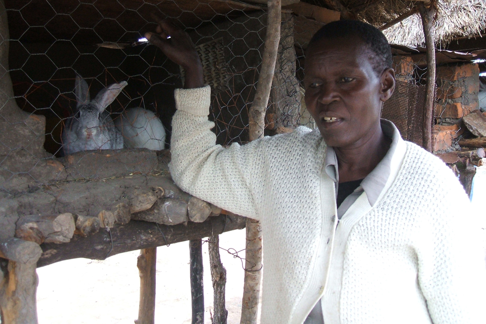 Gogo Kerina with some of her rabbits. Picture: DFID