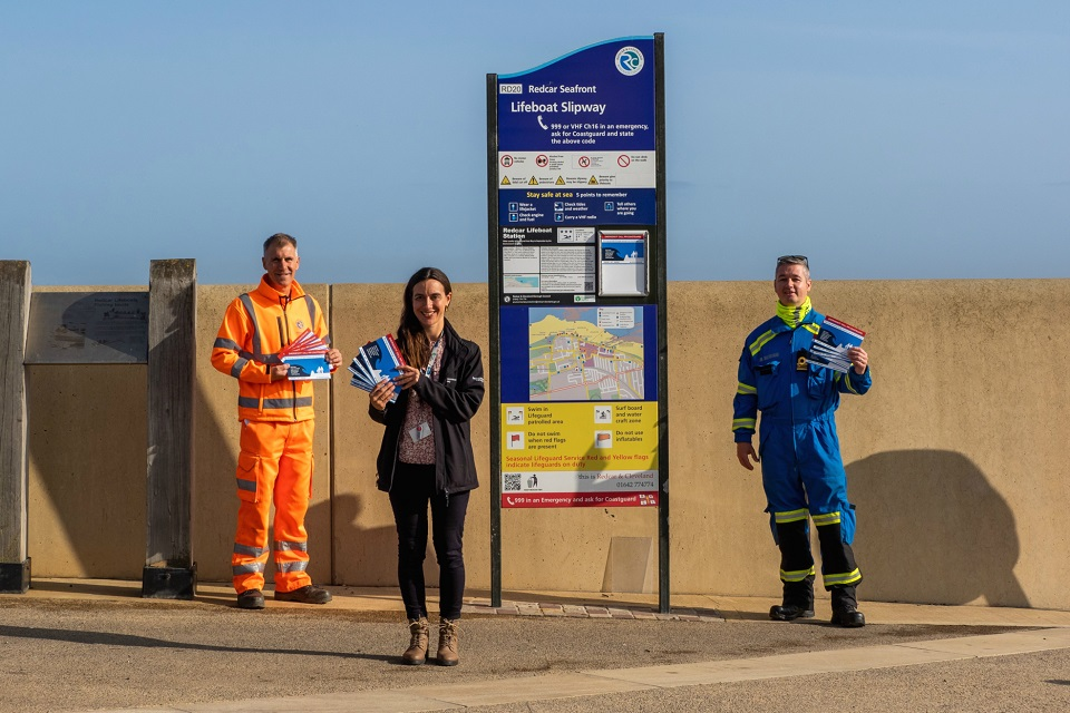 Image shows (left to right) Nigel Hill - Principal Engineer for Redcar and Cleveland Borough Council, Sarah Duffy - Environment Agency, Community Engagement Officer, and Steve Hart, Senior Coastal Operations Officer for the HM Coastguard