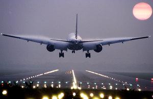 Passenger plane landing at Gatwick.