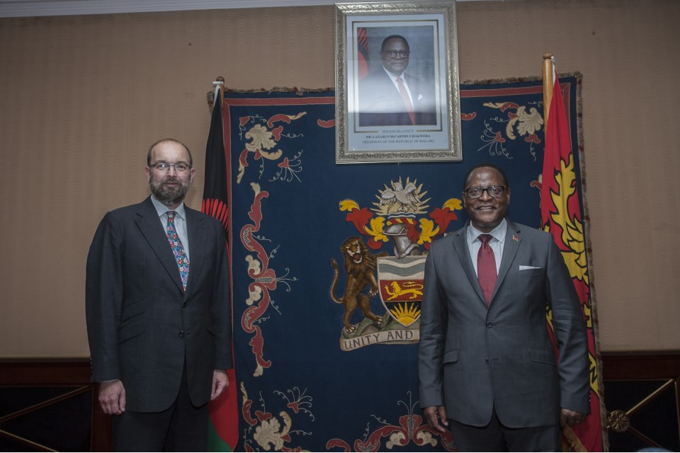 James Duddridge, UK Minister for Africa, pictured meeting His Excellency Lazarus Chakwera, President of Malawi.