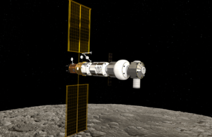 Lunar Gateway in orbit around the Moon