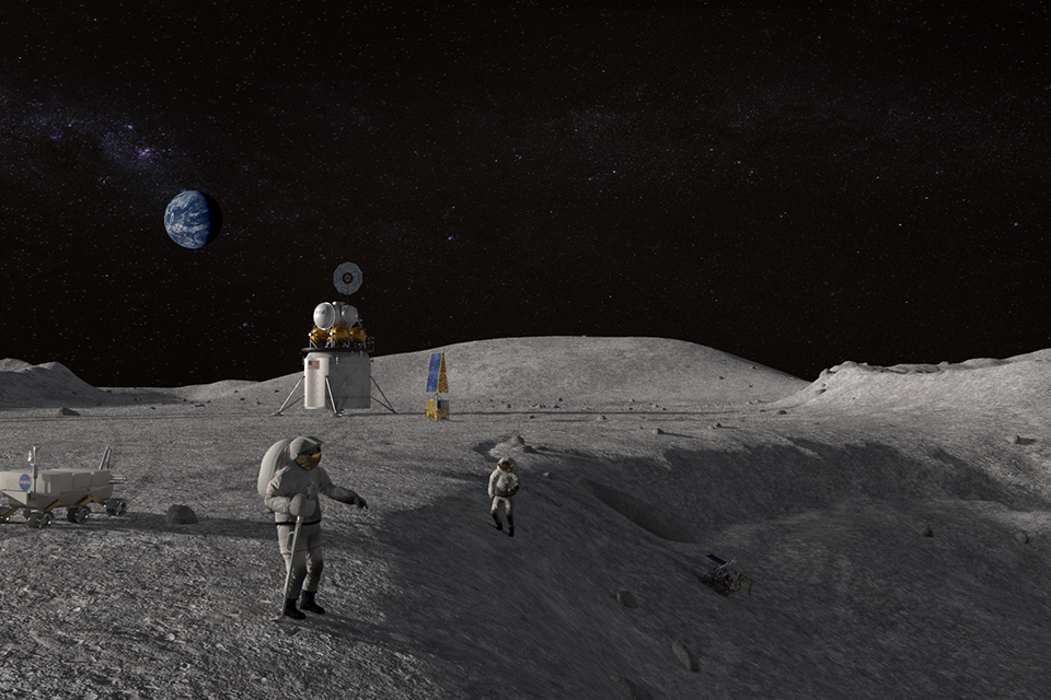 Artemis astronauts on surface of Moon