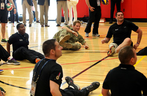 Prince Harry warms up with members of the UK Help for Heroes team at the Warrior Games in Colorado Springs [Picture: Copyright Help for Heroes and Roger Keller]