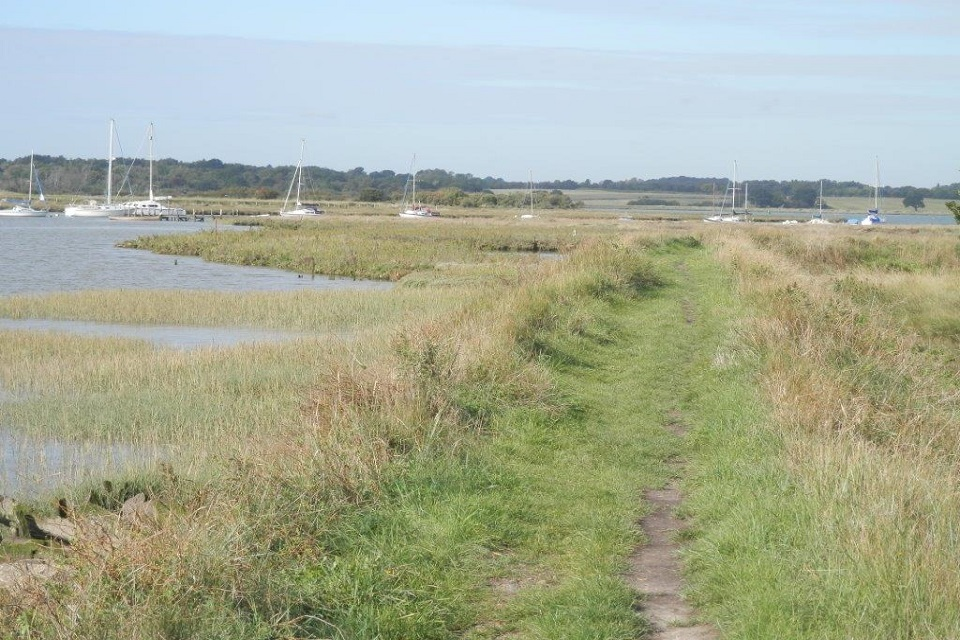 Views at Alresford Creek looking west towards Fingringhoe.