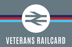 Veterans railcard logo. Grey background the word Veterans railcard written in white on the top.