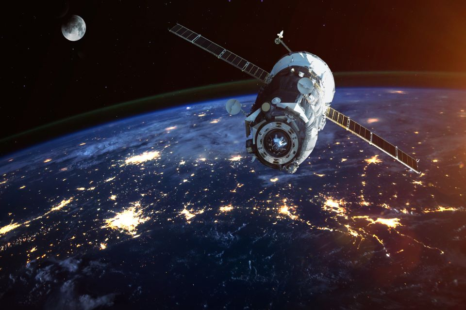 Satellite in orbit around Earth