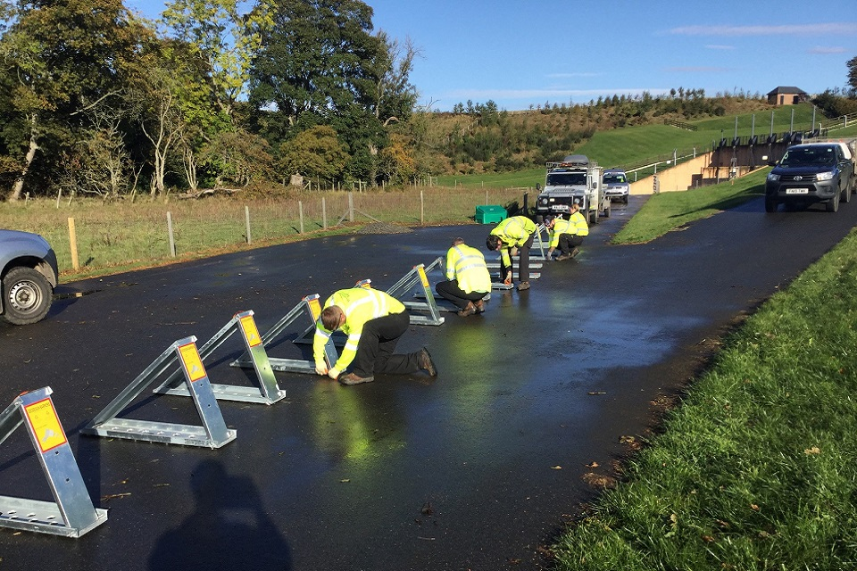 Image shows temporary barrier deployment training taking place at Morpeth.