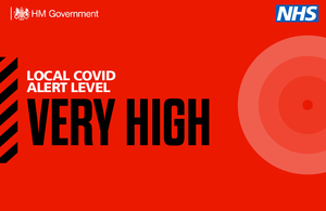 Local COVID alert level very high banner