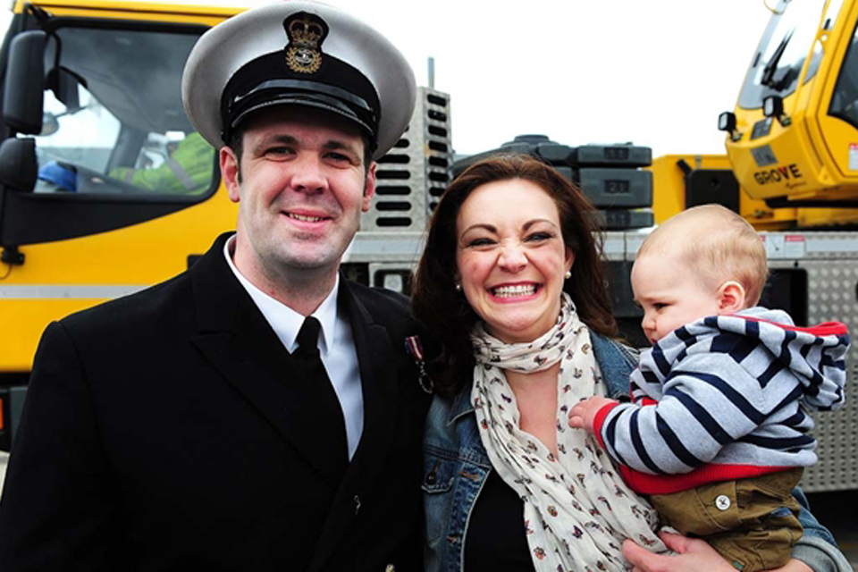Chief Petty Officer Paul Baker with partner Vicky Saunders and son Thomas