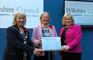 Baroness Hanham unveils a comemorative plaque with Christine Crisp, Wiltshire Council chairman, and Jane Scott, Wiltshire Council leader.