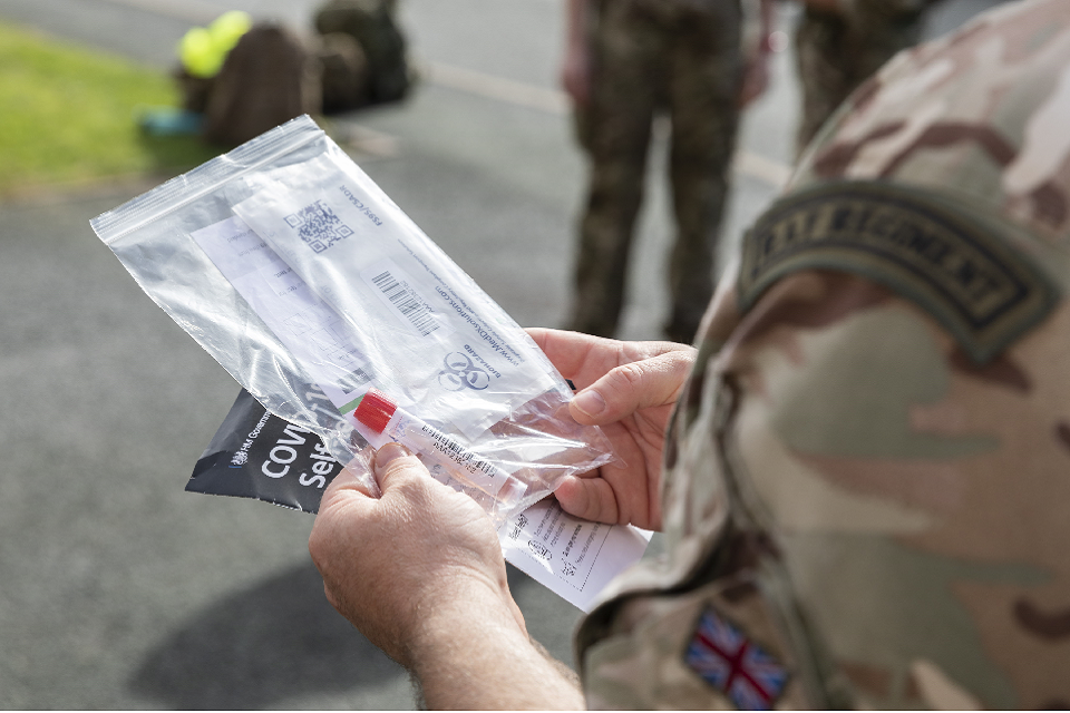 Armed Forces assisted in delivering and collecting tests from homes in Birmingham. MOD Crown Copyright.