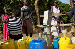 Elizabeth Eidngo collects water from the CAFOD borehole in St Cecilia diocese, South Sudan. Pictures: Richard Wainwright/CAFOD