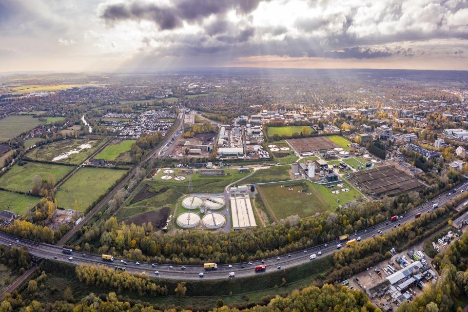 Aerial shot of Cambridge site.