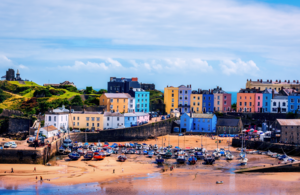 Harbour view of seaside town Tenby in Pembrokeshire, West Wales
