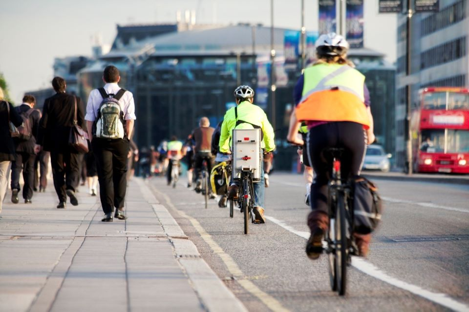 Cyclists in city