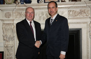 Foreign Office Minister Alistair Burt with Seychelles' Minister Joel Morgan