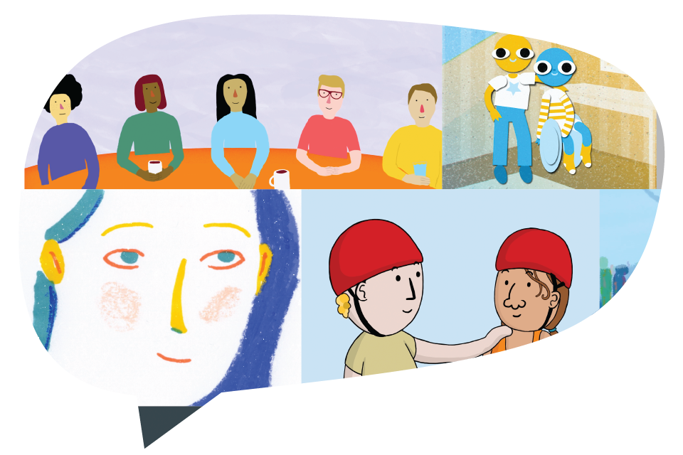 Cover photo of Illustrated elements of loneliness made into a collage and shaped as a speech bubble.