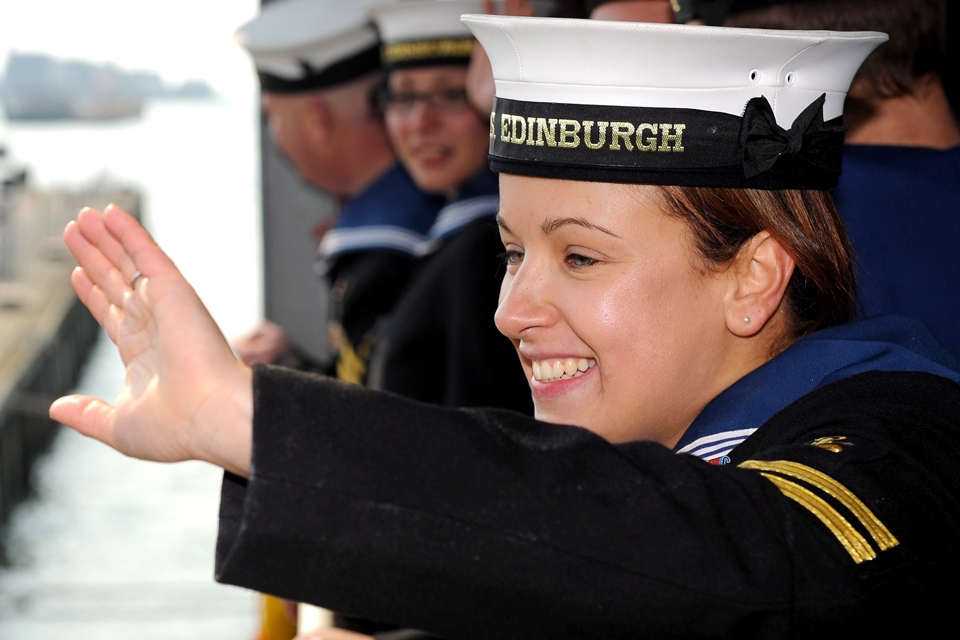 A sailor waves from HMS Edinburgh (library image)