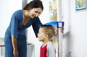 Measuring the height of a child